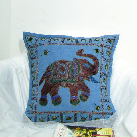 Cotton Cushion Cover Emdbroidered,16 x 16 inches.,Elephant