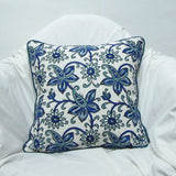 Blue white floral Cushion Pillow Covers soft cotton.16 x 16 inches.Block Print.