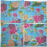 Cotton kantha pillow/cushion India,Indian art, hand stitched 16 x 16 inches.