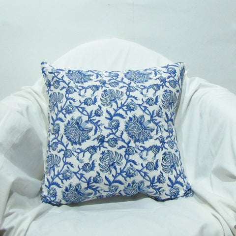 Blue floral cushion covers soft cotton,16 x 16 inches.