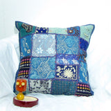 Cotton Cushion/Pillow Cover Patchwork /Emdbroidered,16 x 16 inches.