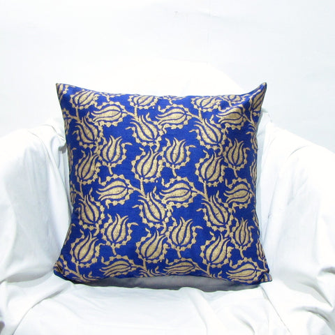 Blue  gold Silk Cushion Pillow Cover .16 x 16 inches.Block Print.