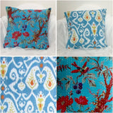 Teal orange accent kantha pillow/cushion cover.