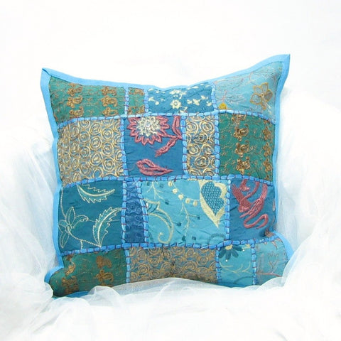 Blue patchwork Indian cushion covers,embroidery,Indian cushion homme decor.