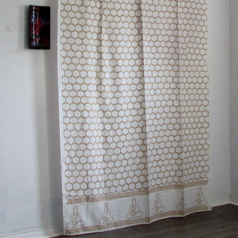 Buddha print mustard white curtains Block printed tab top cotton loop curtains