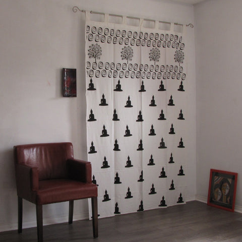 Buddha print curtains black white curtains Block printed tab top cotton loop ,monochrome.