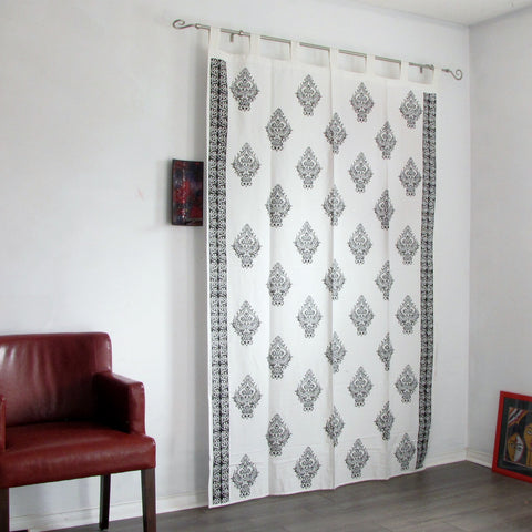 Ethnic black and white Block printed tab top sheer cotton loop curtains,