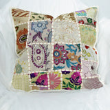 Cushion cover Indian ethnic Off white,cream,multicolor,Patchwork ,Embroidered,16 x 16 inches.