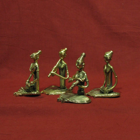 Dhokra/Dokra Art,Hand crafted,Tribal art.Lady Musician set sitting.