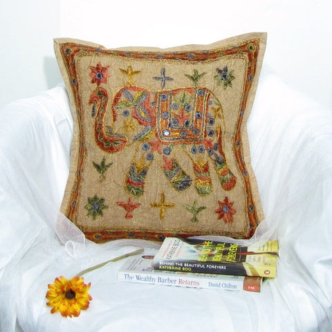 Cotton Cushion/Pillow Cover Embroidery,16 x 16 inches.Elephant