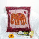 Cotton Cushion Cover elephant motif kantha,17 x 17 inches.