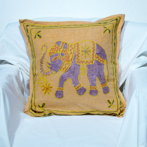 Cushion Cover Elephant motif,children room cushions.embroidered,16 x 16 inches.Elephant motif