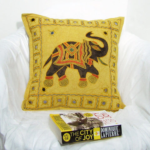Elephant Cushion/Pillow Cover Embroidery,mirrorwork,16 x 16 inches.Indian home decor.