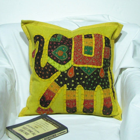 Cotton Cushion Cover Emdbroidered,16 x 16 inches. Elephant