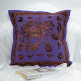 Cotton Cushion Cover Embroidered,16 x 16 inches.Elephant motif.
