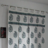 Curtains teal white Cotton block printed tab top curtains,loop curtains,