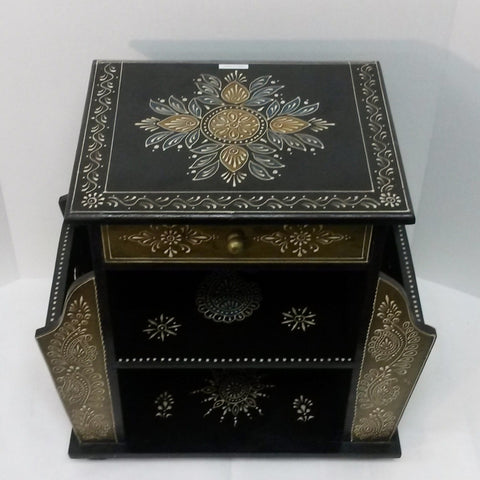 Painted furniture black gold accents side tables,pot holders ,Indian painted furniture,India home decor,Indian Art.Magazine Drawer.