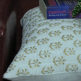 Gold white floral Cushion Pillow Covers.16 x 16 inches.Block Print.