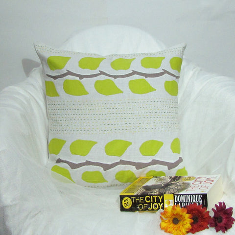 Green and white cushions covers,grey accents,leaf moti,applique