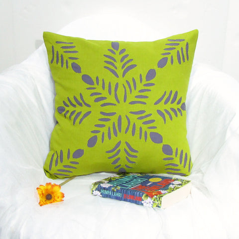 Green grey accents Cushion / Throw Pillow covers Applique. 16 x 16 inches.