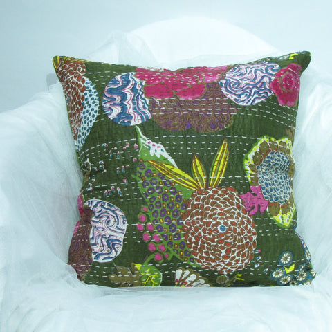 Cotton kantha pillow/cushion India,Indian art, hand stitched 16 x 16 inches..