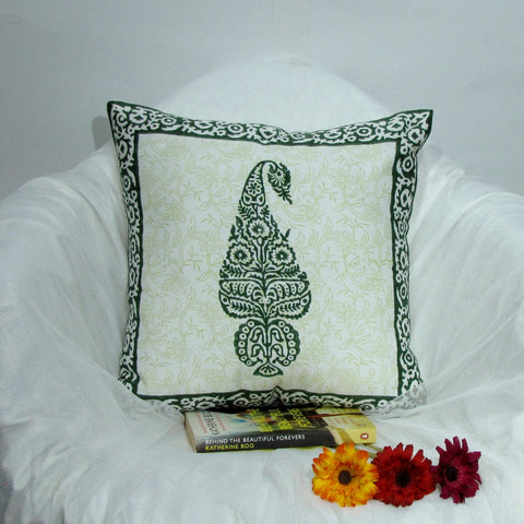 Paisley cushion cover green,Indian home decor,block print.16 x 16 inches.