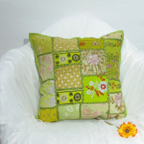 Indian Cushion Cover green Patchwork,Emdbroidery,16 x 16 inches.