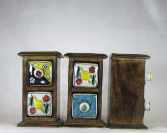 Wood Chest with Ceramic Drawers 7 X 4 inches.