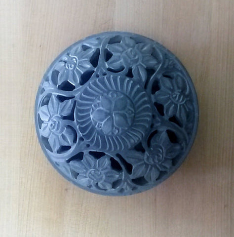 Potpourri Holder Carved Soapstone.Flower motif.