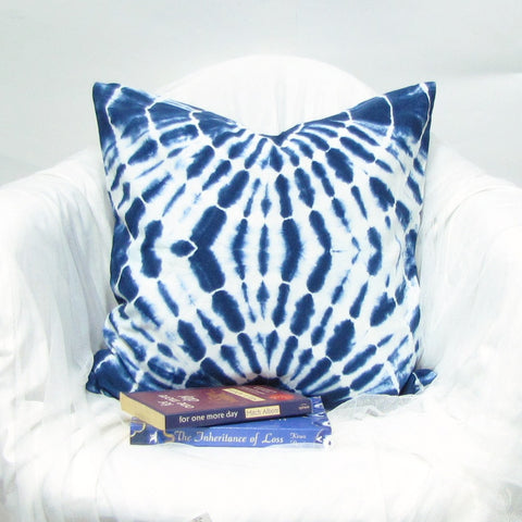 Blue indigo throw pillows,Cushion Cover Cotton .