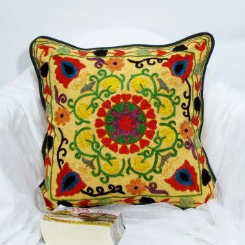Suzani Cotton Cushion Cover Embroidered,16 x 16 inches.