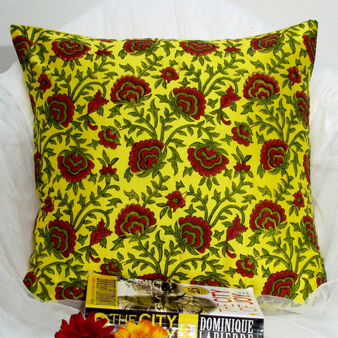 Silk Cushion Mustard red floral  cushion Pillow Cover .16 x 16 inches.Block Print.