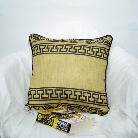 Mustard black geometric Silk Cushion/Pillow Cover .16 x 16 inches.Block Print.