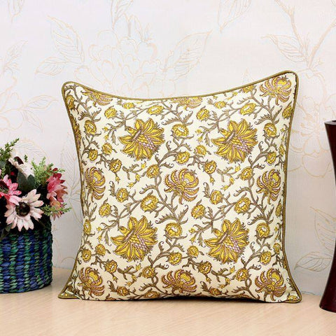 Mustard Silk  floral Cushion pillow Cover .16 x 16 inches.Block Print.