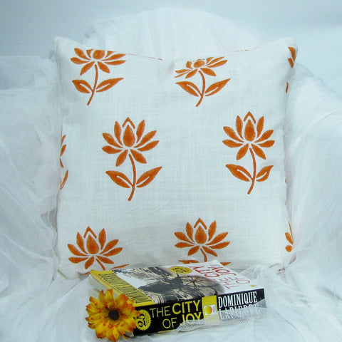 Orange white floral Cushion/Pillow Covers.16 x 16 inches.Block Print.