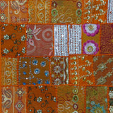 Cushion Cover orange multicolor Patchwork,Indian Embroidery,16 x 16 inches.