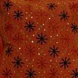 Cushion Cover orange cotton,Indian cushion, Embroidered,16 x 16 inches.