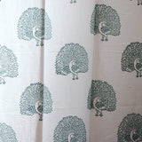 Block printed cotton loop curtains,Peacock motif and border