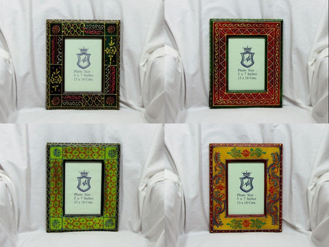 Photo Picture Frame,Hand painted,7x5 inch photograph,India Indian Art with glass.