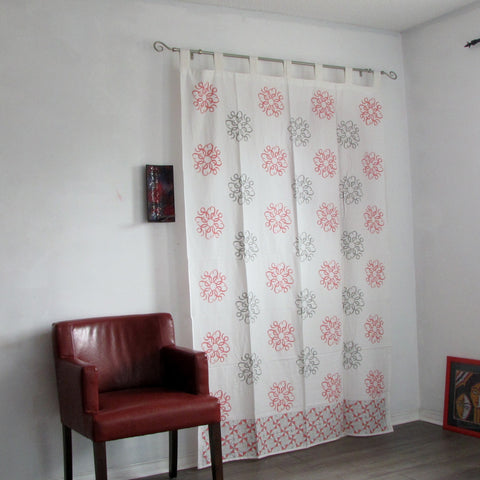 Curtains grey,pink and white ,Hand block printed cotton tab top curtains,loop curtains,