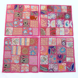 Cushion Pillow Cover pink Patchwork .Indian cushions,Embroidered,16 x 16 inches.