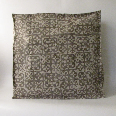 Brown Pouf Ottoman ,Block Print,Stone-washed, Bean Bag, Cotton Cover.