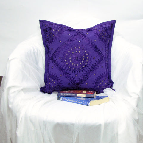 Cushion Cover purple mirror work Embroidered,16 x 16 inches.