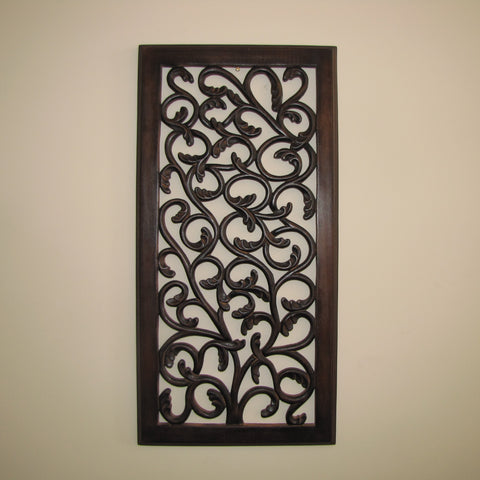 Wood carved wall decor 24x12 inch,Wood Wall Art Plaque ,Decorative. IVY
