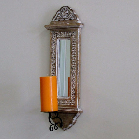 Decorative wooden sconce .wood wall candle holder with mirror,India home decor.Lee.