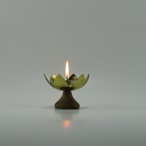 Tealight Candle Holder ,Brass with wood Base. Diya.