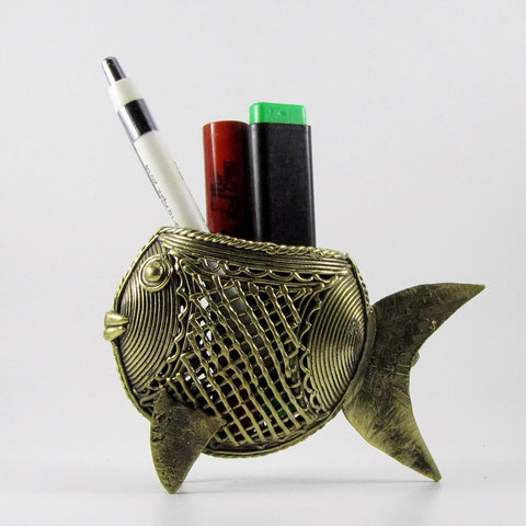 Dhokra fish pen holder,Brass fish sculpture,dokra,lost wax casting,tribal art,Fish desk accessory,fish plant holder