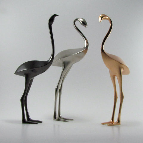 Flamingo bird sculpture,minimalist metal, 12 inches tall.
