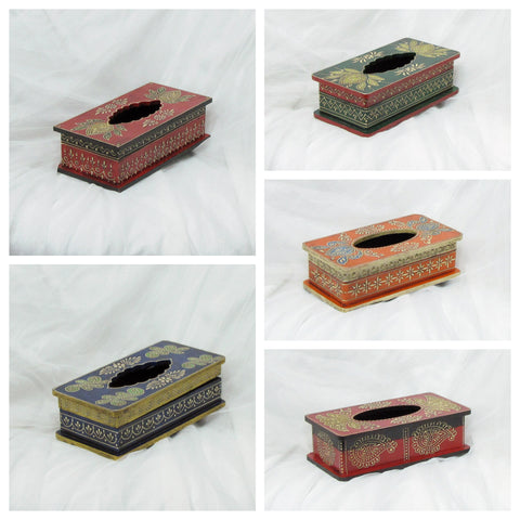Painted Paper Tissue Box Holders,Hand Painted Embossed.Indian Art.Indian home decor