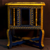Painted stool,pot holders,plant stand,Indian home decor.Blue,gold accents,.Indian painted furniture